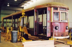 The tram is completely stripped for refurbishment